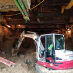 August 15, 2017-The pedestrian underpass under construction beneath MD 355. Construction has begun at the east side of MD 355 next to the Navy's south gate and is progressing to the west side at NIH, by the elevator entrance to the Medical Center Metro Station.